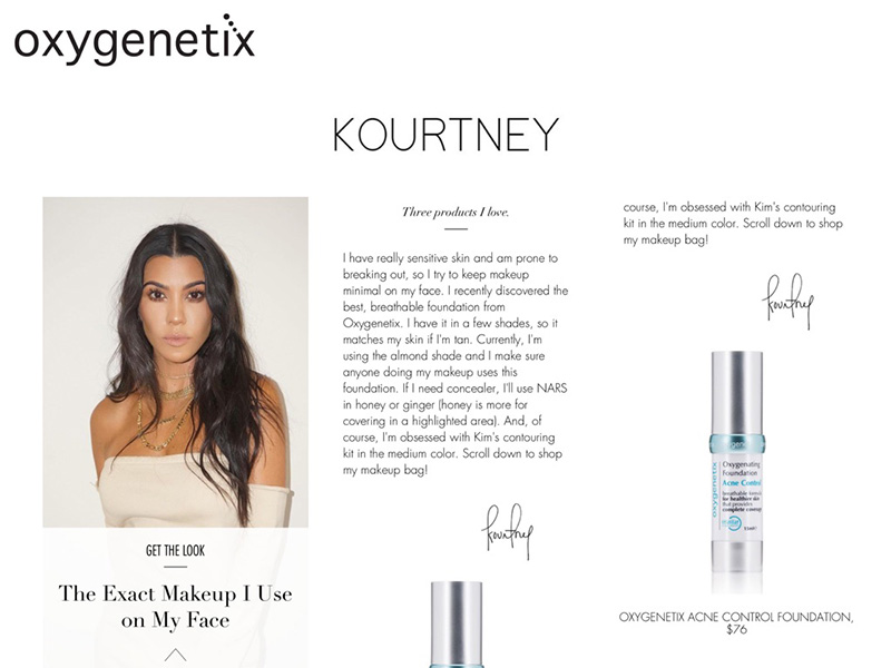 Kourtney Kardashian and Oxygenetix
